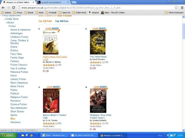Wolf's Head is No. 1 in the Kindle WAR chart!