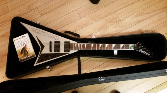 "My ""Wolf's Head"" Jackson Randy Rhoads guitar with custom decal."